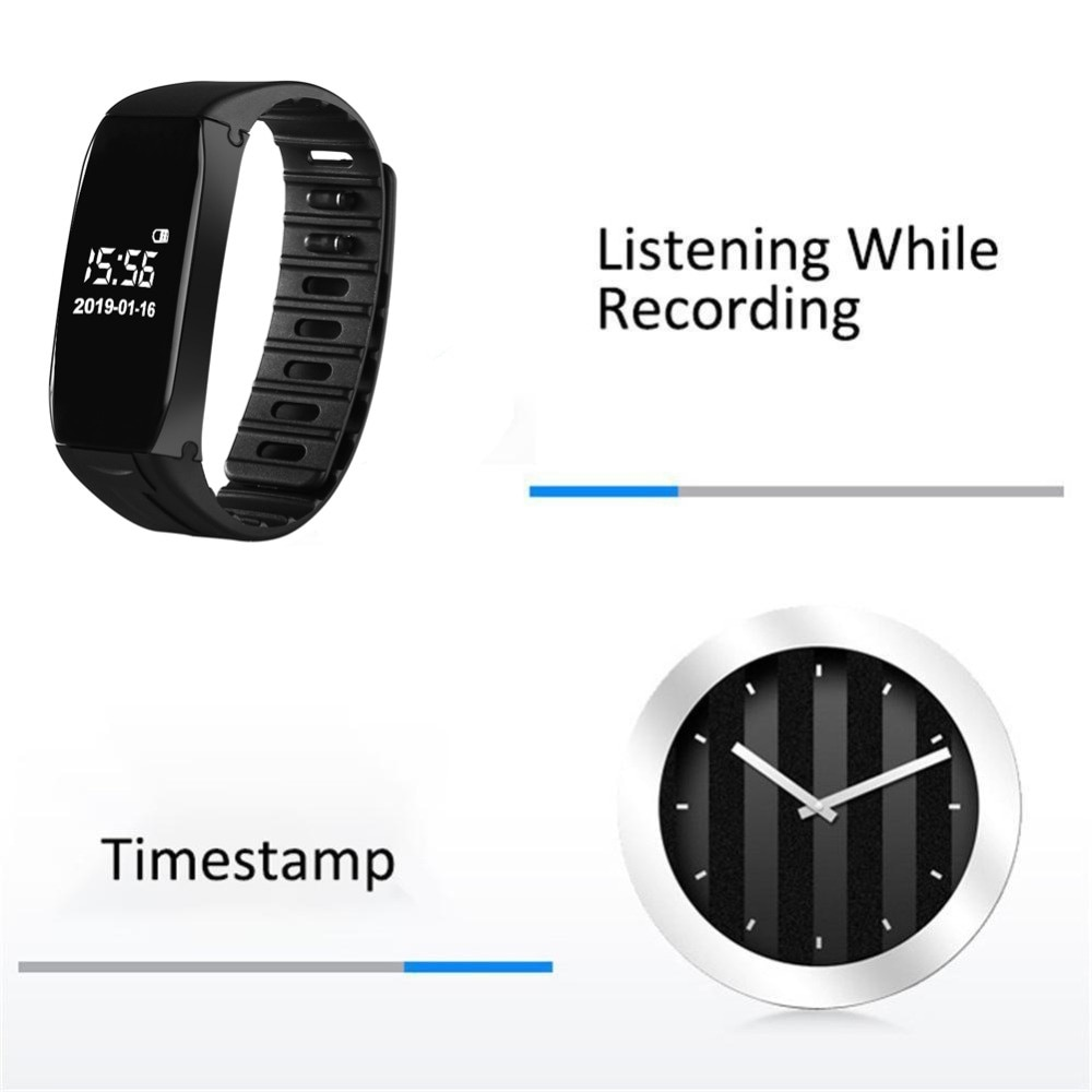 Vandlion Digital Voice Recorder 32G 64G 128GB Wrist Watch 192kbps Audio Recording Dictaphone OLED Screen MP3 Player for Business enlarge