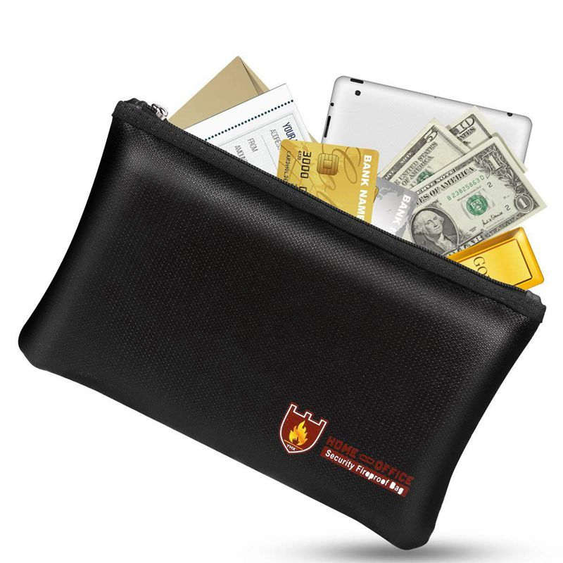 safe Fireproof Money Safe Document Bag. NON-ITCHY Silicone Coated Fire & Water Resistant Safe Cash Bag. Fireproof Safe Storage