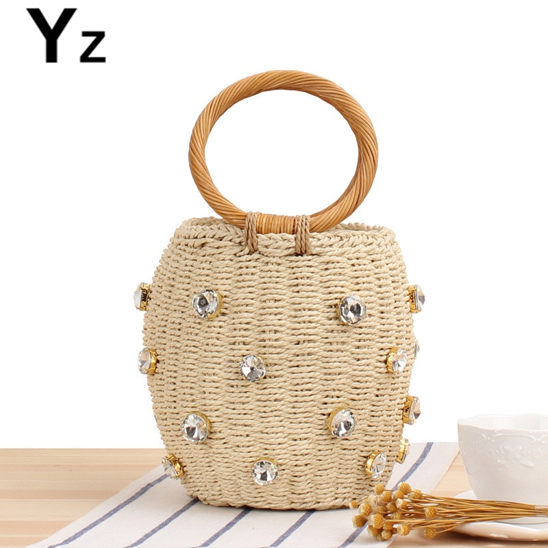 Aaby 2021 Diamonds Straw Handbags For Women Hand-woven Rattan Bag Female Tote New Summer Holiday Beach
