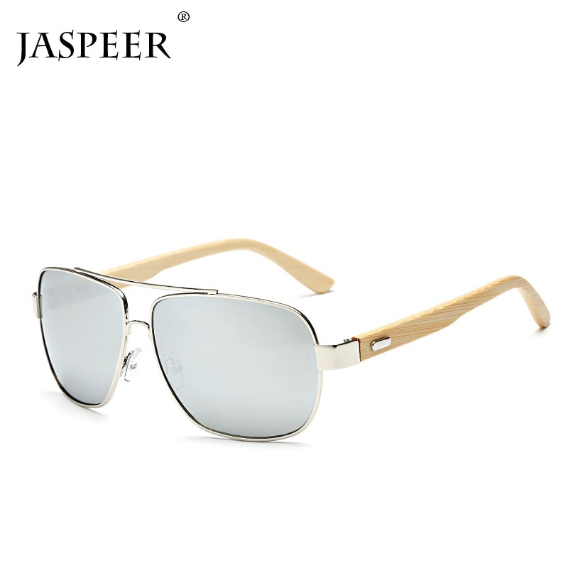 Jespeer homem perna de bambu oval óculos de sol feminino azul clássico lente espelho óculos de condução óculos de proteção uv400