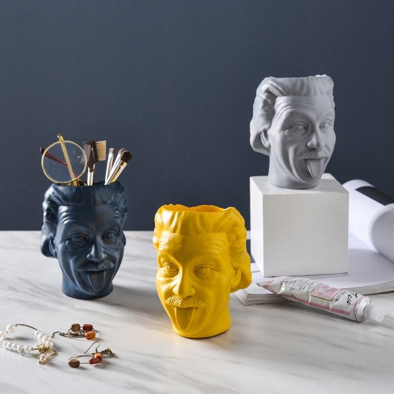 Accesorios de decoración para el hogar de estilo nórdico con figuras de resina y macetas para muñecas y artículos diversos de almacenamiento con soporte de pluma de Einstein europeo para regalos de cumpleaños