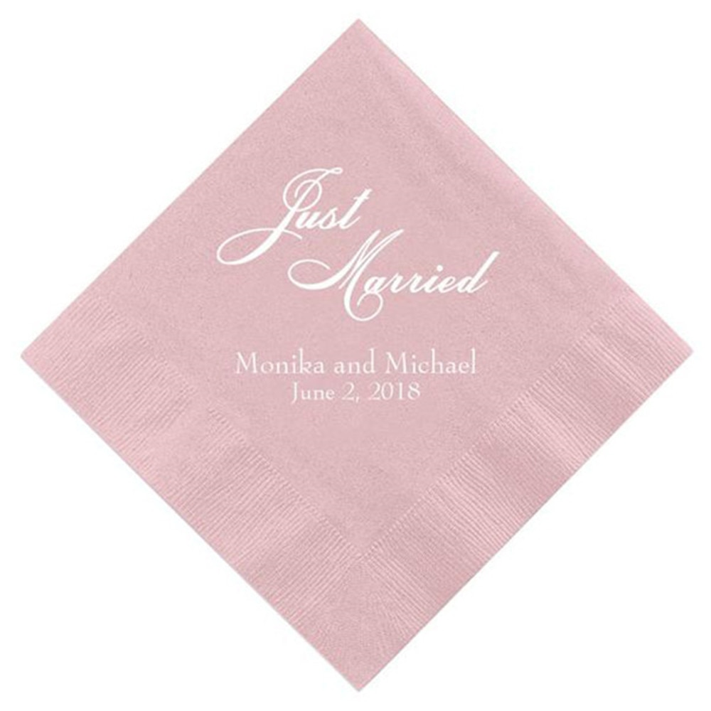 Personalized Just Married Pink Paper Napkins Custom Wedding Cocktail Beverage Paper Serviette Bridal shower Table Decor Napkins