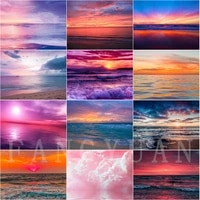5d diamond painting sunset beach scenery diy full square round diamond embroidery kit seascape home decoration wall art pictures