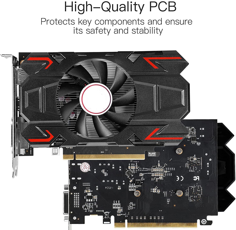 HD RX 550 4GB GDDR5 128-Bit DirectX 12 PCI Express DVI-D Dual Link, HDMI, DisplayPort.4K Output For Desktop PC Game enlarge
