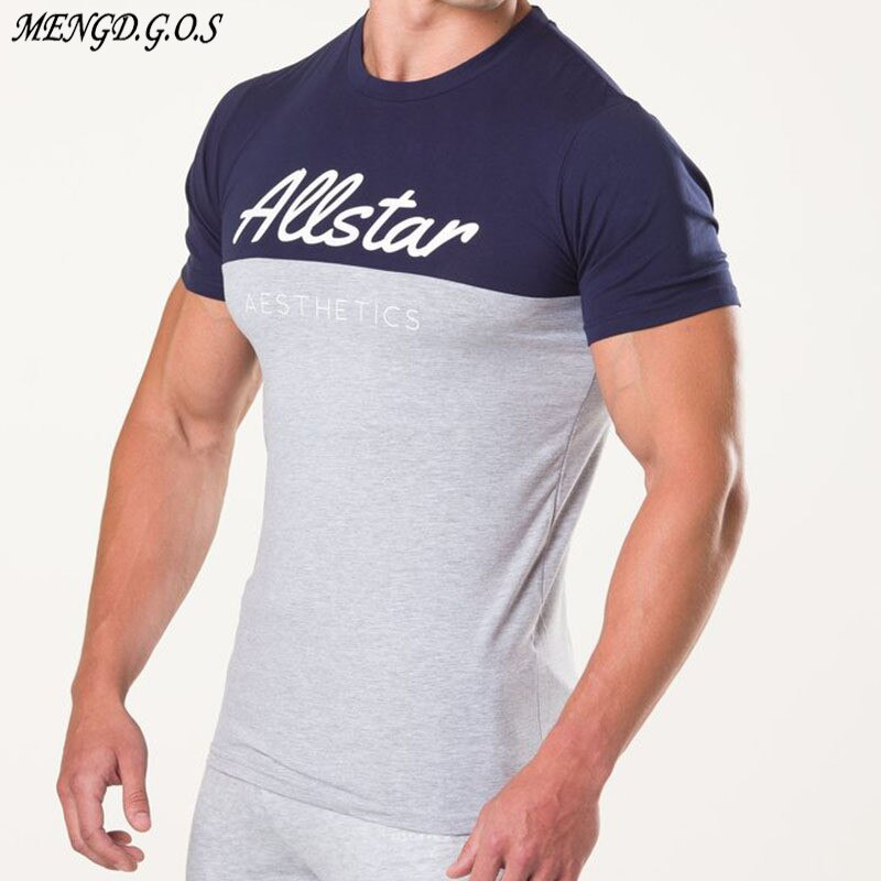 2019 high quality fashion cotton mens round neck T-shirt casual short-sleeved shirt fitness jogger sportswear