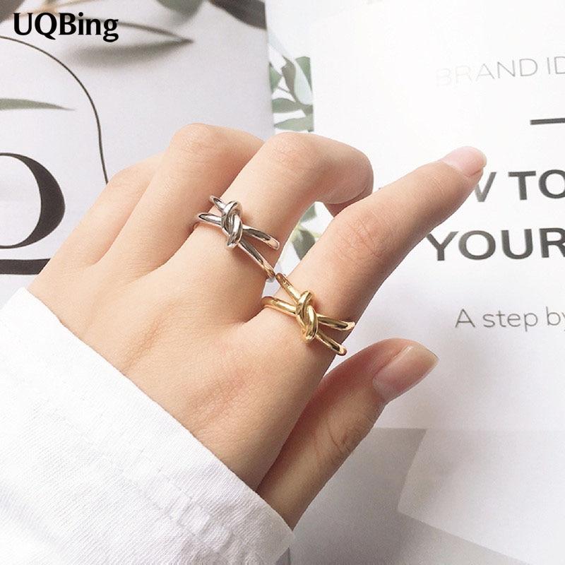 Модные-925-стерлингового-серебра-асимметричные-геометрической-формы-в-оплетке-с-двойным-узлом-кольца