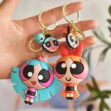 Créatif dessin animé Anime Powerpuff filles porte-clés pendentif fille porte-clés voiture mignon breloque pour sac accessoires clés Couple cadeau