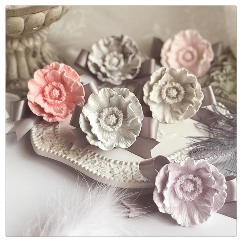 Molde de amapola 3D flores arcilla artesanía molde de silicona DIY Amora yeso molde de silicona para decoración de coche velas moldes de resina