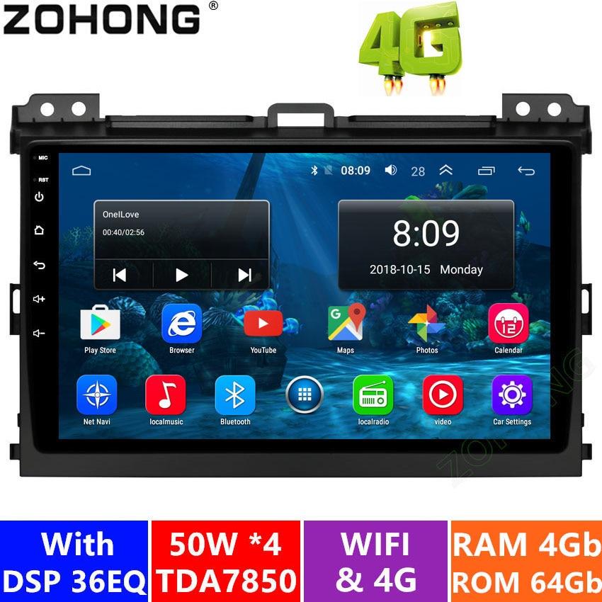 4 + 64G DSP Android9.0 Car DVD multimedia player per Toyota Land Cruiser Prado 120 LC120 auto radio GPS di navigazione autoradio stereo