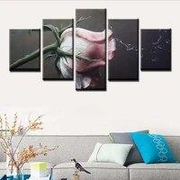 Affiche murale moderne imprimee HD  5 pieces  cadre de peinture de paysage Rose avec projection deau
