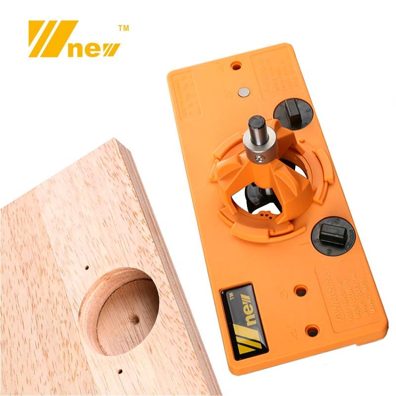 Varjatud 35 mm tassi stiilis hingedega puurimisjuhik + forstneri puidulõikur, puidutöötlemise tööriistad