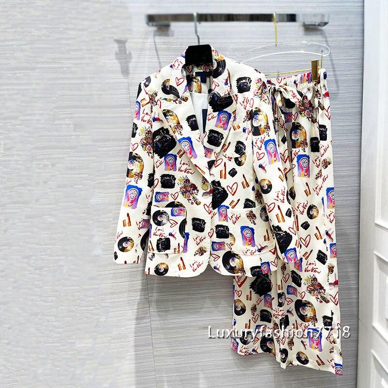 Luxury Designer women fashion 2 Two Piece Set Outfits for Women Retro classics printing Suit jacket Wide leg straight pants sets