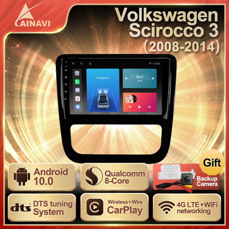 Car Radio Android 10 QLED Screen For Volkswagen VW Scirocco 3 2008-2014 Auto Stereo Multimedia Player Navigation Carplay No 2din