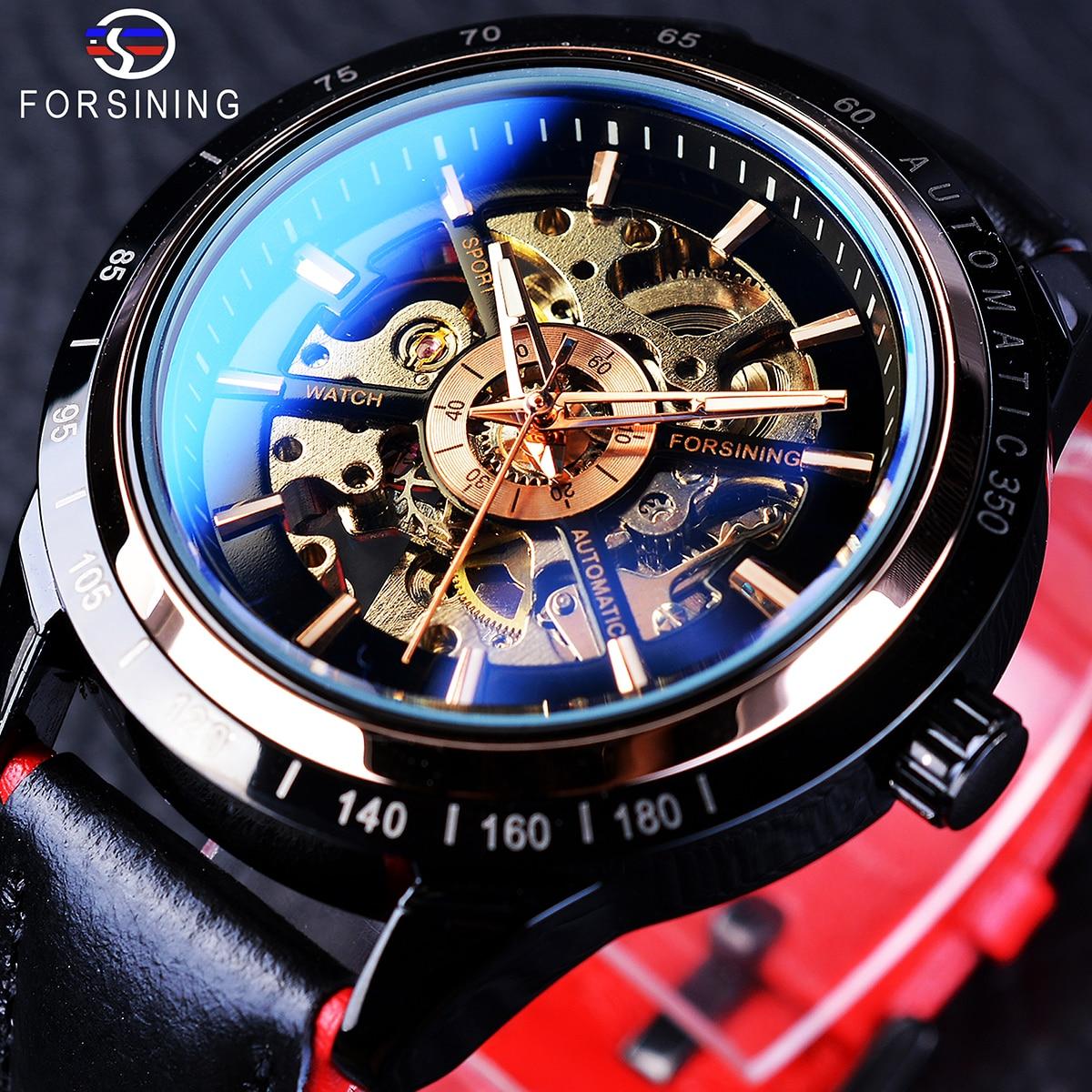 Мужские часы с ремешком Forsining, водонепроницаемые автоматические механические часы черного цвета с кожаным ремешком