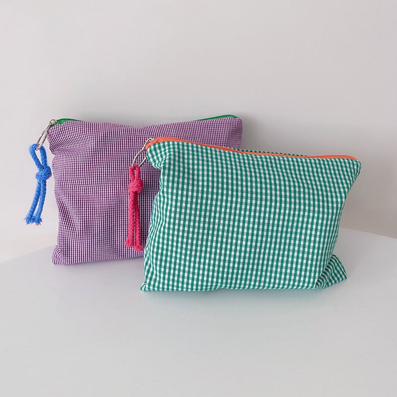 Makeup Bag Organizer Purse Checked Storage Bag Clutch Cosmetic Bag Zipper Pouch Plaid Fashion Handle