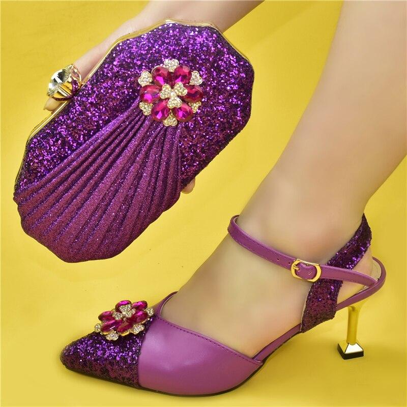 Doershow جميلة الأرجواني الأحذية الإيطالية مع أكياس مطابقة أحذية النساء الأفريقية والحقائب مجموعة للحزب حفلة موسيقية صندل صيفي HPU1-8