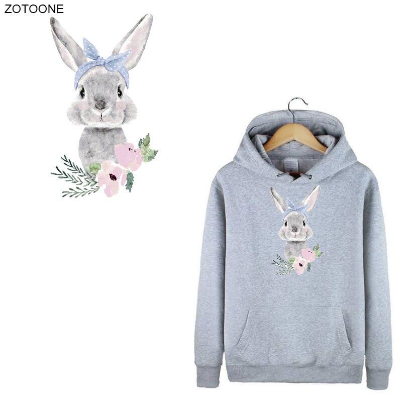 ZOTOONE Симпатичные патчи с кроликом и цветком термоклейкие для одежды пасхальные