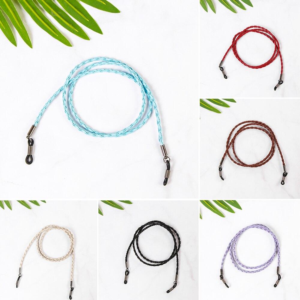 1 unidad de cadena de gafas de cuero colorido 6 colores ajustables gafas correa para el cuello gafas de sol cordón Unisex moda gafas Accesorios