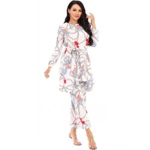 Dashiki African Dresses For Women 2021 Muslim Fashion Abayas Long Sleeve Kimono Pants 2 Pieces Set Bangladesh Robe Arabe