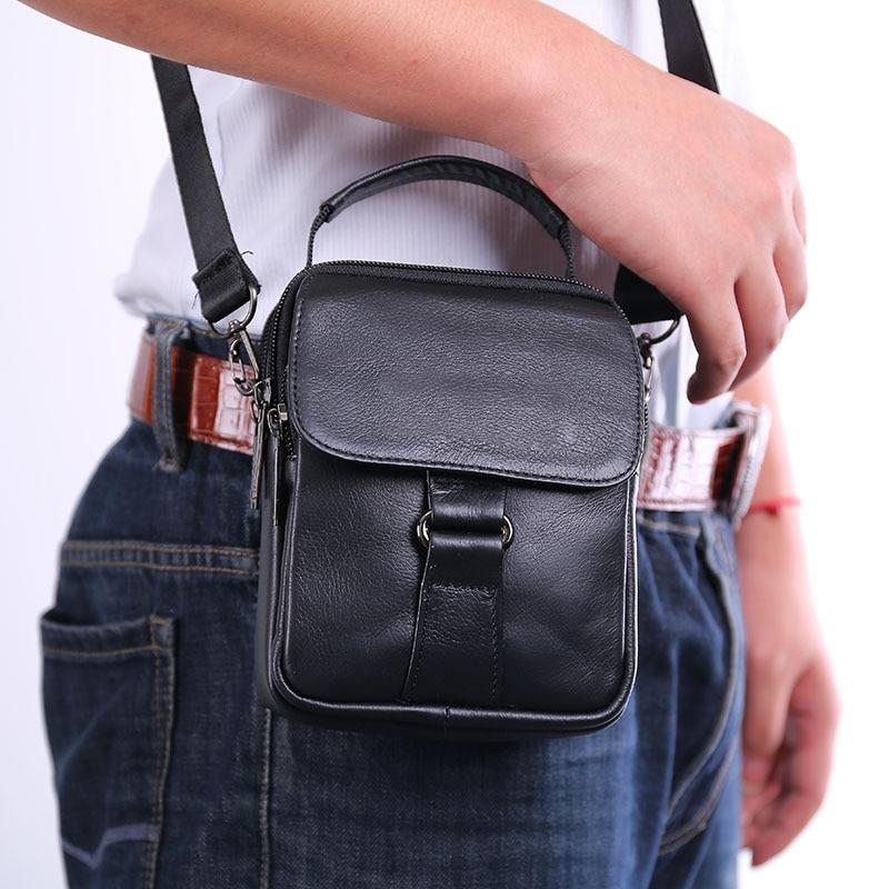 Bandolera de cuero de vaca para hombre, bandolera cruzada, bolsa para la cintura, riñonera, cadera, Mini bolso de mano para hombre, bolsos genuinos