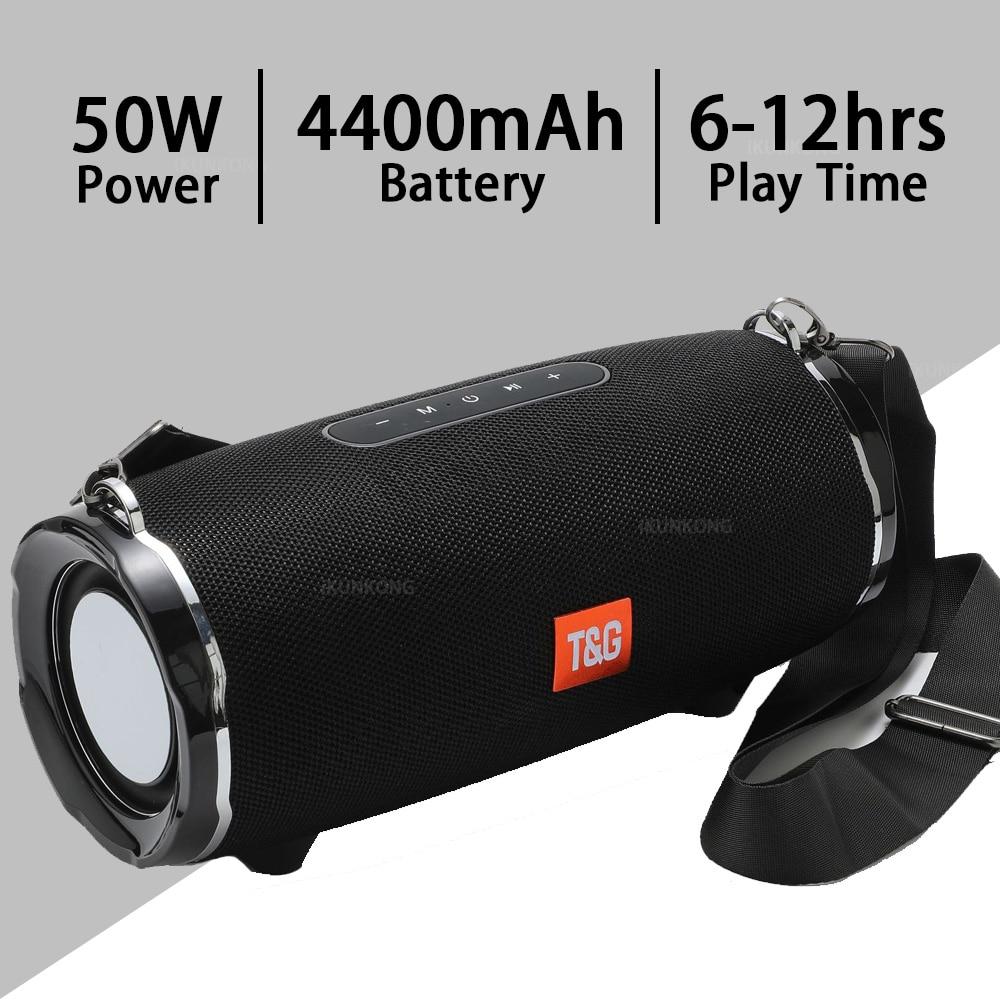 Altavoz Bluetooth TG187 De 50w, Subwoofer, altavoz al aire libre impermeable, AUX,...