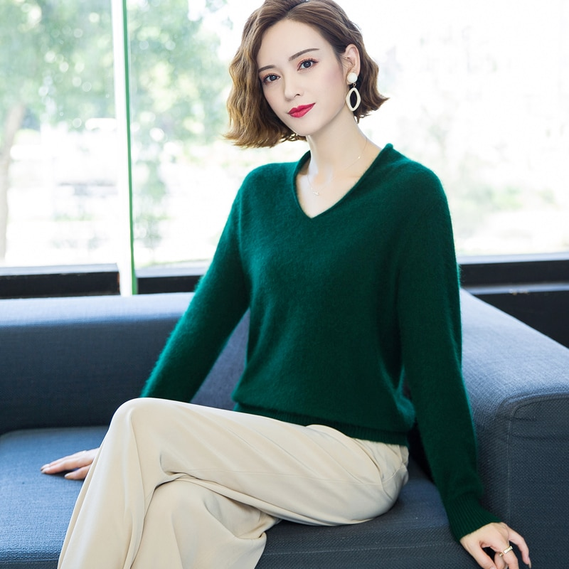 2020 autumn and winter new cashmere sweater ladies sweater pullover thick short knitted loose v-neck bottoming shirt enlarge