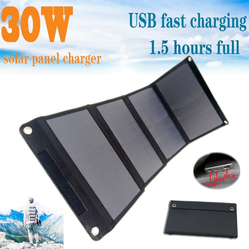 30W Solar Panels Portable Folding Foldable Waterproof Dual 5V/2.1A USB DC 18V 12V Solar Panel Charger for Phone Car RV Battery