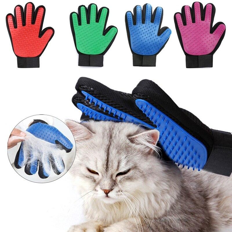 Cão de estimação ferramentas de limpeza luva gato cão escova de limpeza dedo luva de silicone para o cão esfrega banho limpo removedor de cabelo escova