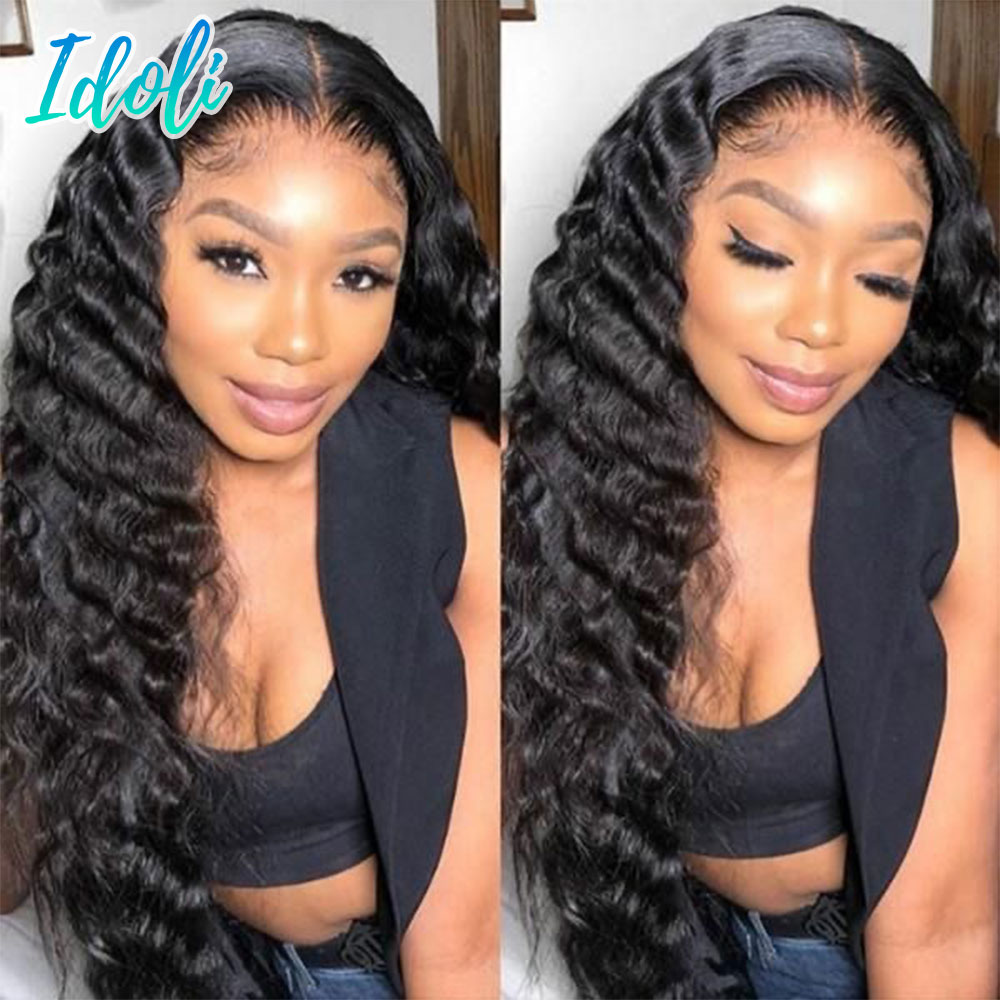Idoli Deep Wave Lace Front Human Hair Wig HD Transparent Lace Closure Wig Brazilian Natural Hair T Part Remy Wig With Baby Hair