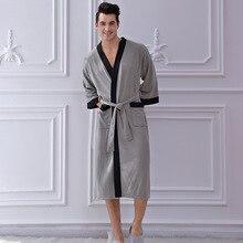 Fdfklak M XL XXL Plus Size Dressing Gown Men's Sleep Robes Black/Navy Lounge Sleepwear Waffle Comfor