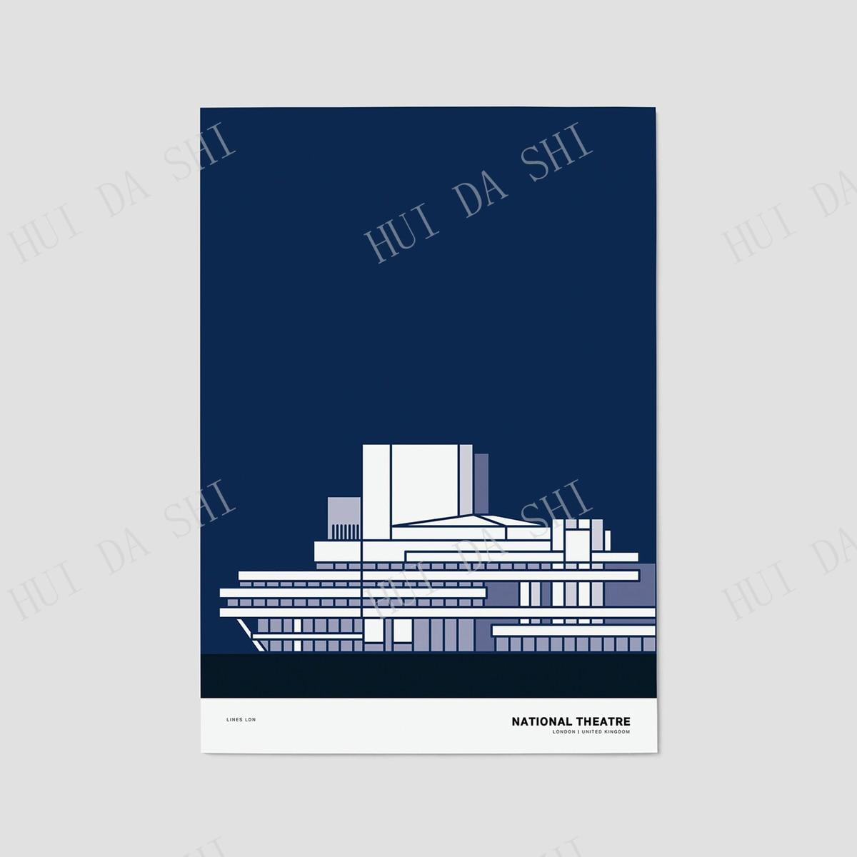 National Theatre, London Print   London Poster   London Illustration   London Architecture Print   London Skyline   London Gift