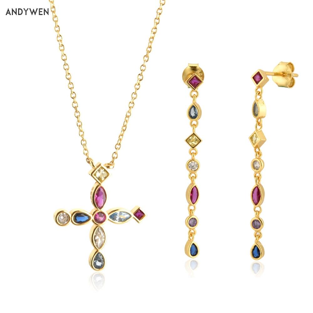 ANDYWEN 925 Sterling Silver Gold Rainbow Cross Zircon Necklace Long Chain Drop Earring 2020 Rock Punk Fashion Fine Jewelry Set
