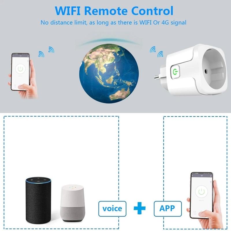 Tuya WiFi Socket Adaptor Outlet Smart Life APP Voice Timer for Google Home Amazon Alexa Light Wall Power Monitor EU Plug