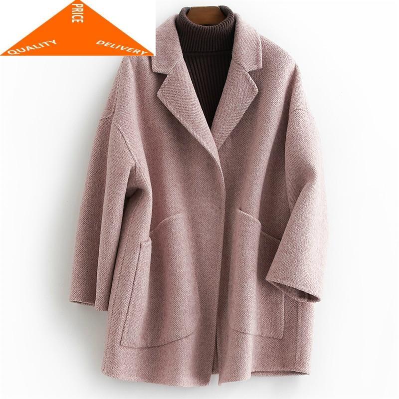 Abrigos de invierno para Mujer, abrigo largo de lana para otoño, chaquetas...