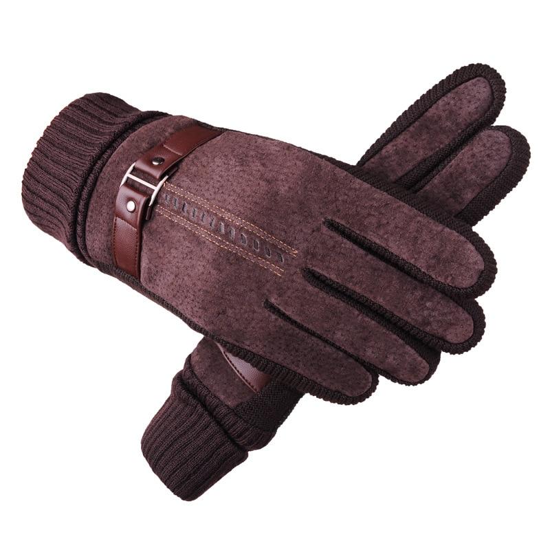 Одна пара однотонных уличных теплых ветрозащитных мужских толстых перчаток с пальцами, теплые замшевые бархатные перчатки, горячая распро...