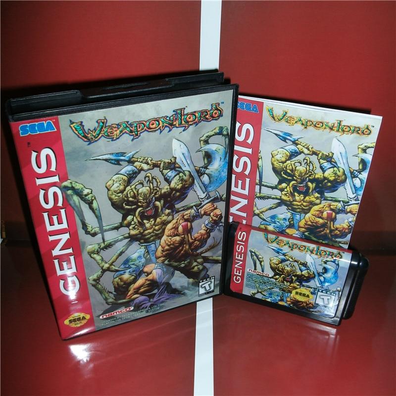 """נשק לורד ארה""""ב כיסוי עם תיבה ידנית עבור Sega Megadrive בראשית וידאו משחק קונסולת 16 קצת MD כרטיס"""