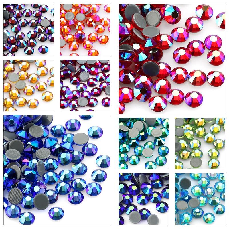 AliExpress - SS6-SS30 Multi-color Crystal AB Hot Fix Rhinestone Crystal Super Glitter Strass Iron On Rhinestones For Nail Art Fabric Garment