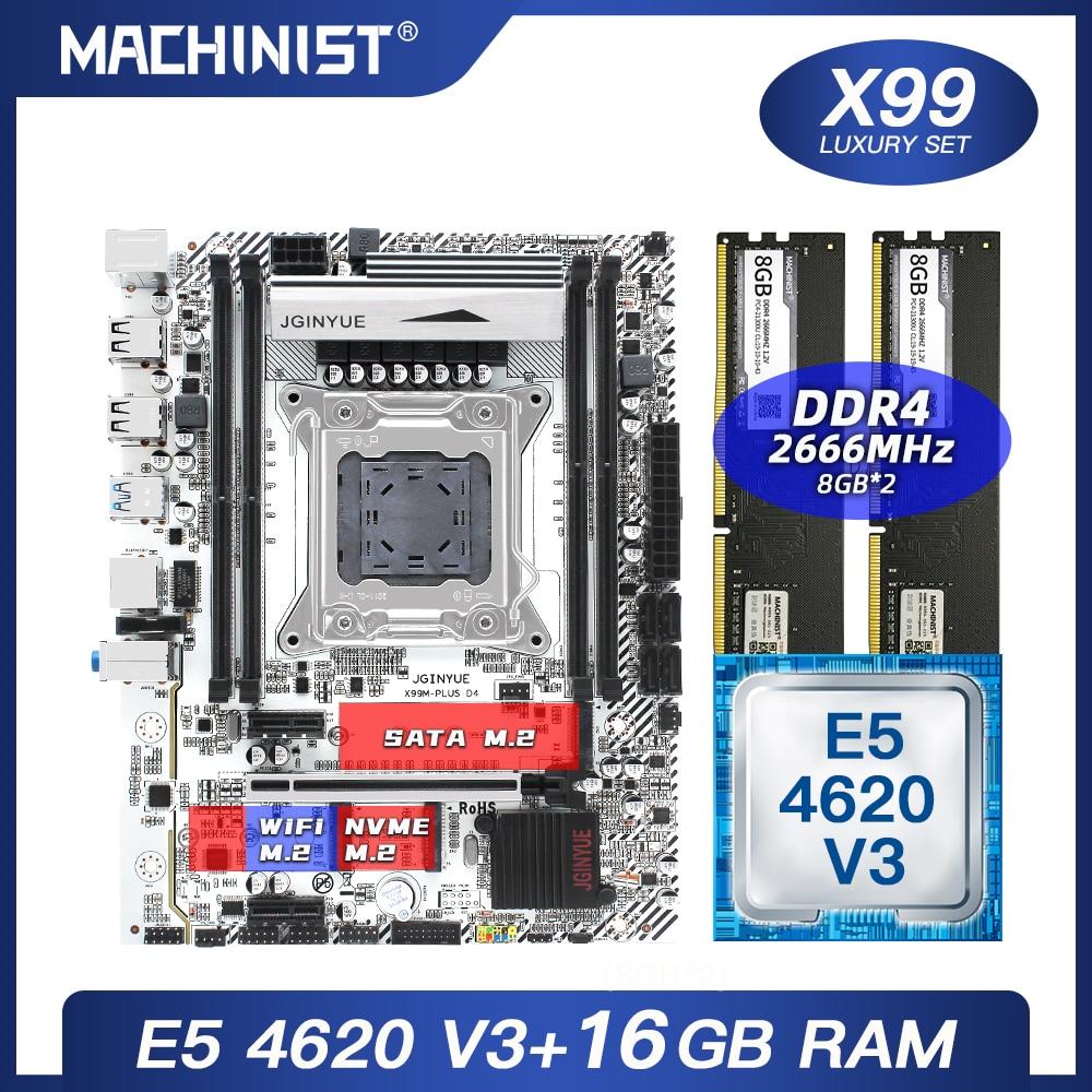 X99 اللوحة LGA 2011-3 مجموعة عدة مع إنتل سيون E5 4620 V3 المعالج DDR4 16 جيجابايت (2*8 جيجابايت) 2666 ميجا هرتز ذاكرة عشوائية M-ATX X99M زائد D4