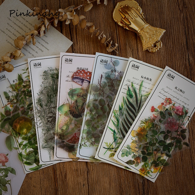 40 Uds. Retro verde Flor de eucalipto bala diario pegatinas decorativas para mascotas Etiqueta de palo de Scrapbooking diario papelería álbum