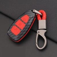 Carbon Fiber Remote Control Car Keychain Key Cover Case For Ford Focus MK3 MK4 Kuga escape ecosport New Fiesta  Smart Key