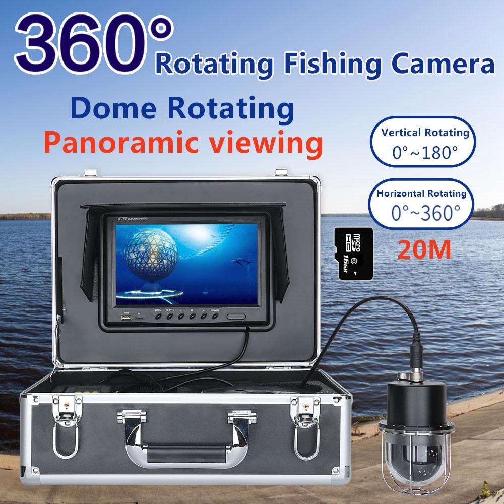 "9 ""DVR grabadora 20m/50m/100m vídeo de pesca submarina Cámara buscador de peces IP68 impermeable 20 LEDs 360 grados Cámara giratoria"