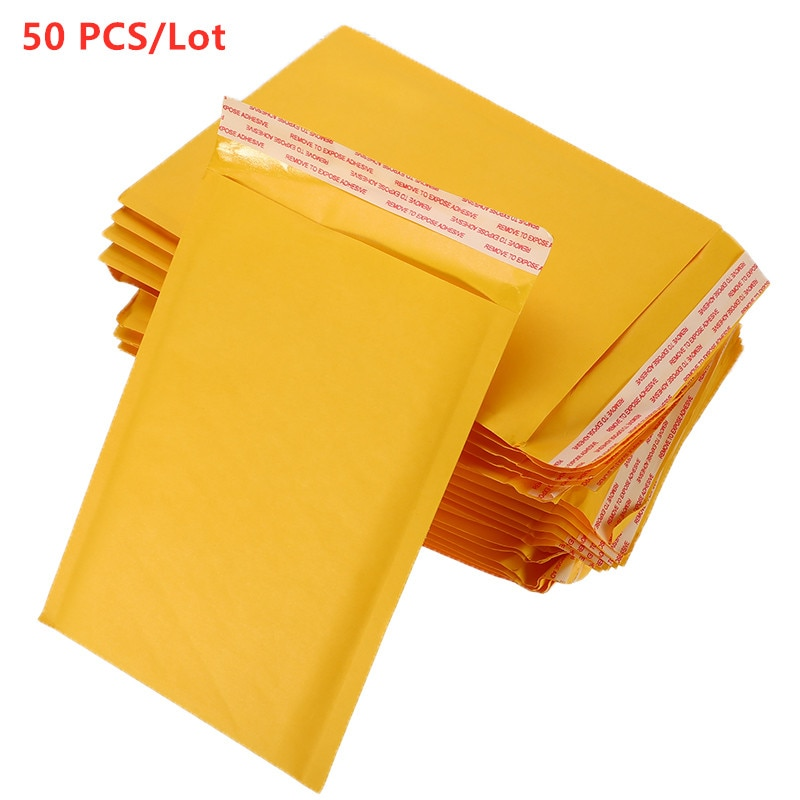 4 größen 50 Pcs Kraft Papier Blase Umschläge Taschen Padded Mailer Versand Umschlag Mit Blase Mailing Tasche