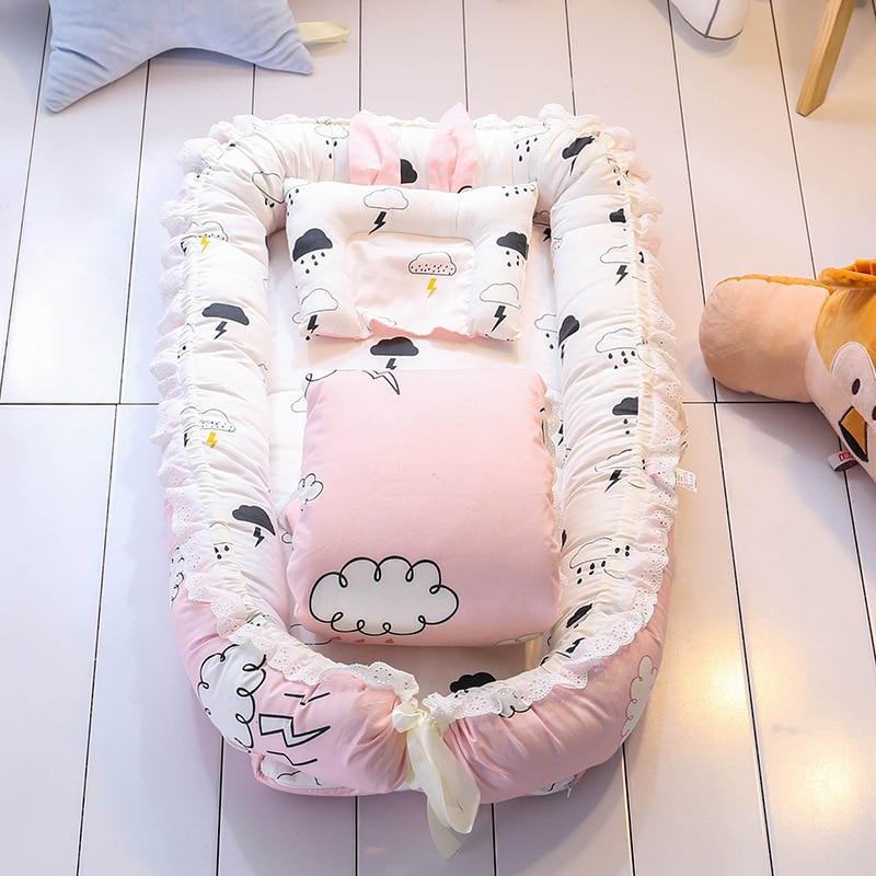 Baby Crib Bed Portable Removable and Washable Quilt Baby Bed Newborn Bionic Bed Baby Nest Foldable Crib Bed Circumference Colu