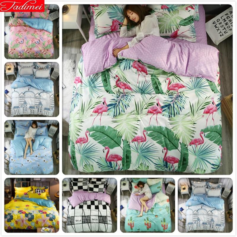 Hilaea flamenco patrón edredón 3/4 piezas juegos de cama ropa de cama para adultos edredón funda de almohada colchas Queen King Size