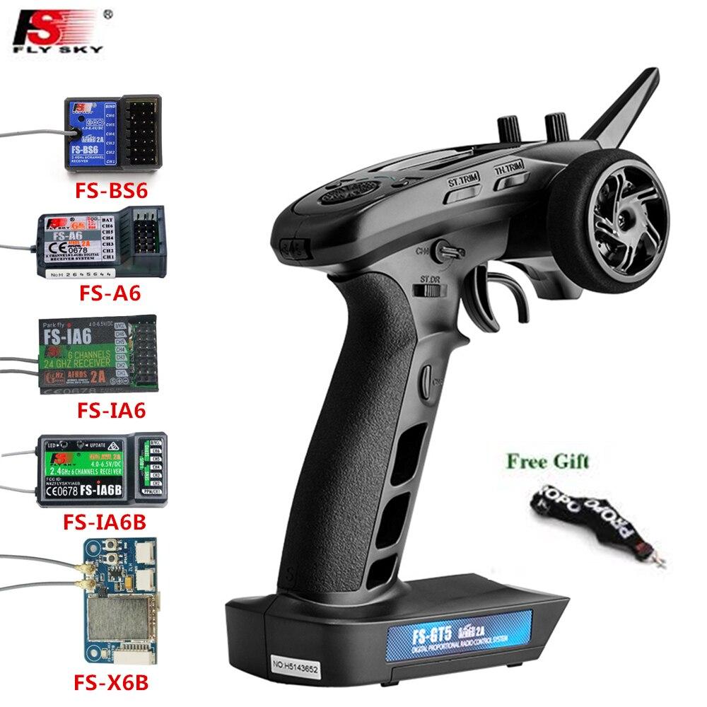 FLYSKY FS-GT5 GT5 2.4G 6CH RC Radio Transmitter with FS-BS6/A6/IA6/IA6B/X6B 6CH Receiver for RC Vehi