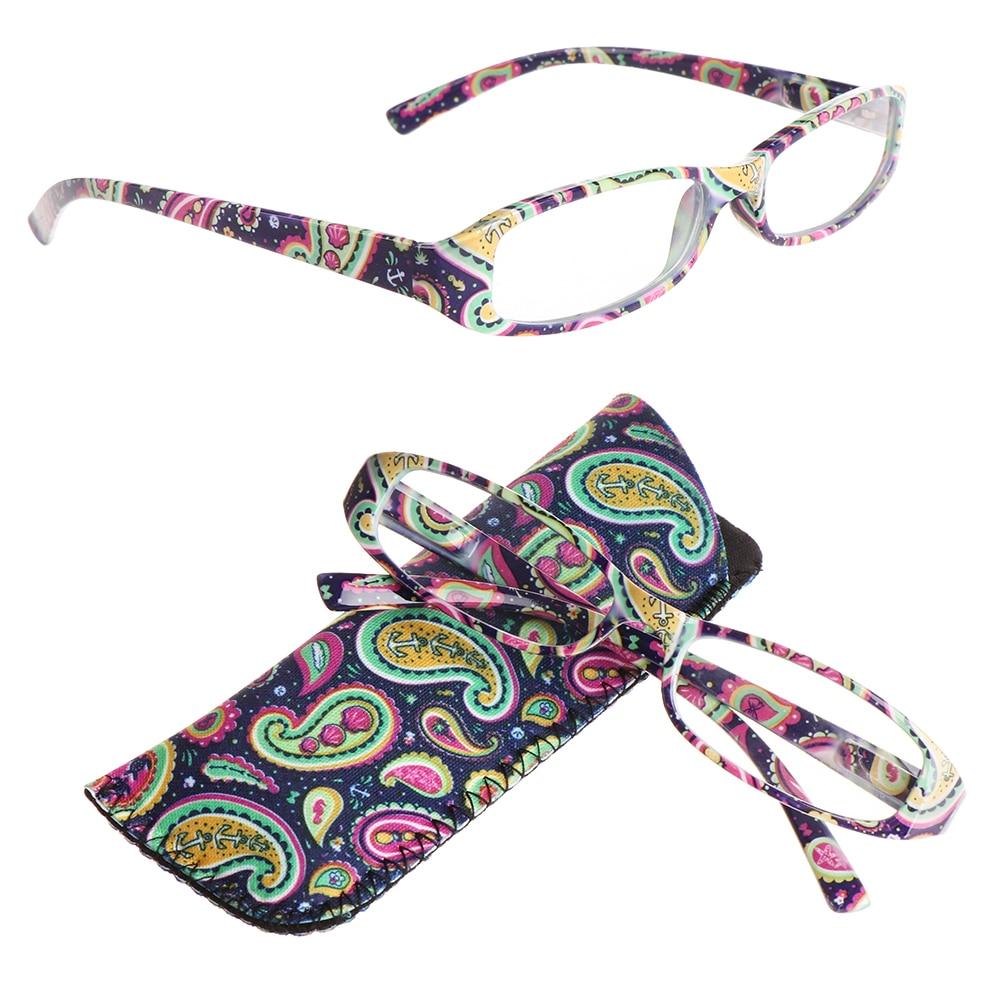 Óculos de leitura com lente de resina, com bolsa, visão colorida, design de carenew, listrado, flor presbiopia dioptria + 1.0 ~ + 4.0