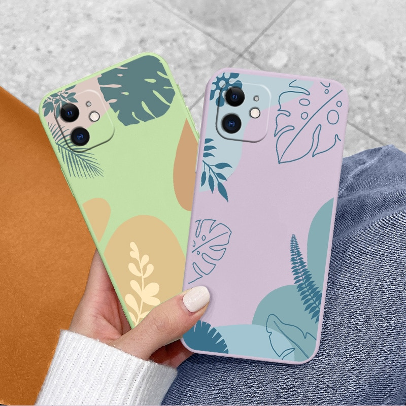 Plant Silicone Phone Case For iPhone 11 12 Pro Max Mini Pro Soft Back Cover On iPhone Max X XR XS MA