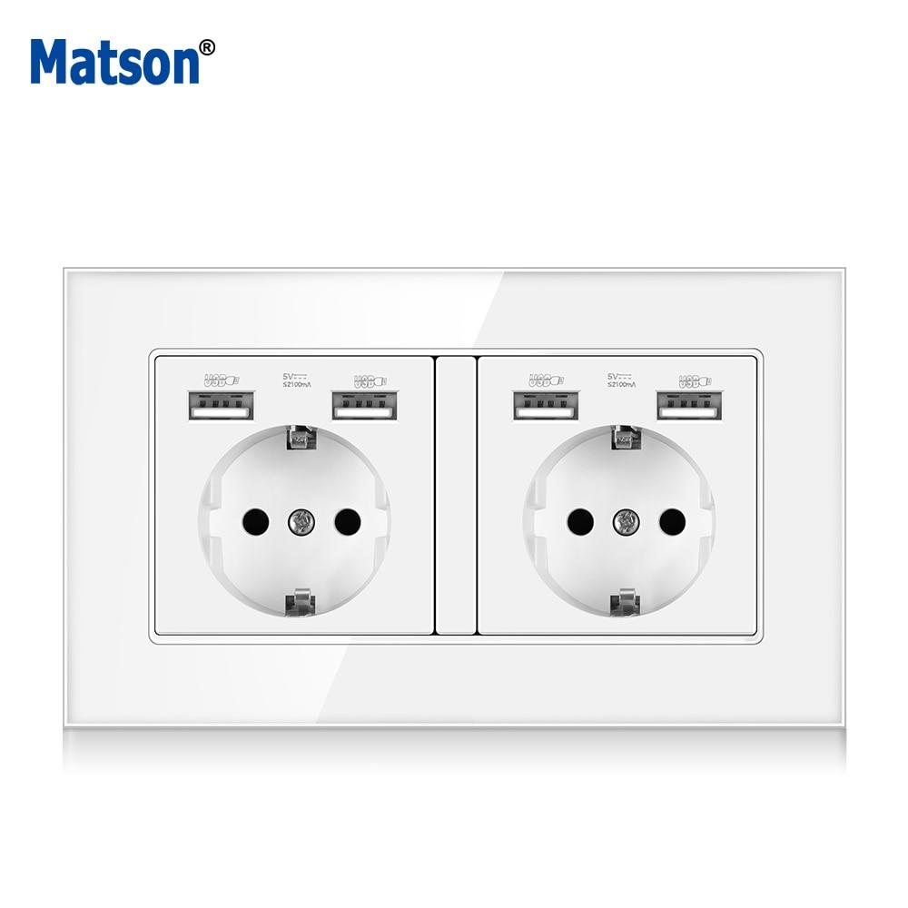 Matson-مقبس حائط زجاجي 16 أمبير مع منافذ شحن USB ، مع مؤشر LED مخفي ، مقبس الاتحاد الأوروبي القياسي