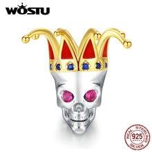 WOSTU 925 argent Sterling crâne reine Clown perle breloque en Zircon ajustement Original Bracelet pendentif Halloween argent 925 bijoux CQC1363