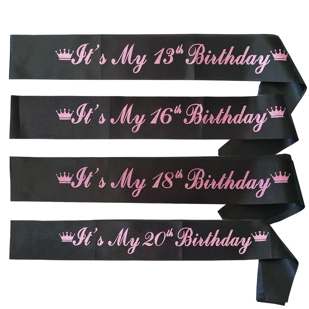 Faja para fiesta de cumpleaños para niñas 13th 16th 18th 20th decoraciones para fiesta de cumpleaños Sweet 16 It's my 13th 16th 18th cumpleaños